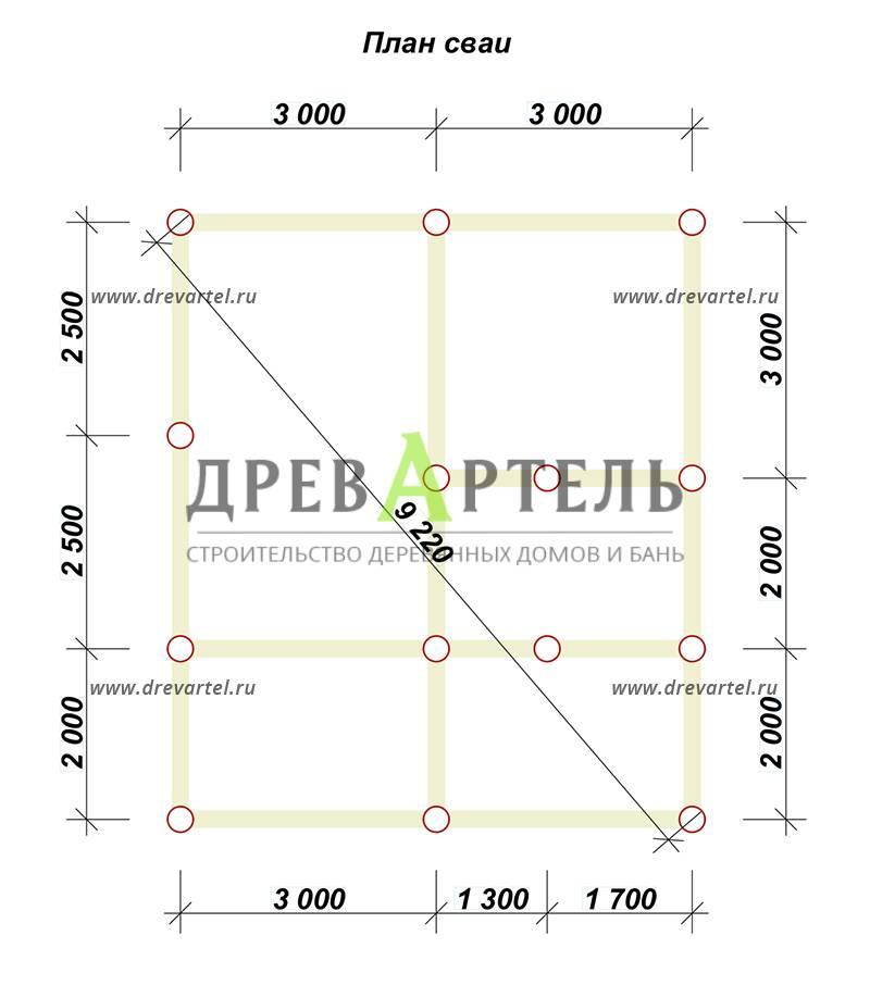 План свайного фундамента - Дом из профилированного бруса 6х7