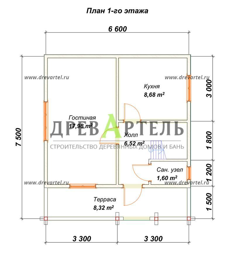 План 1-го этажа - Проект дома из бруса 7х8 с террасой