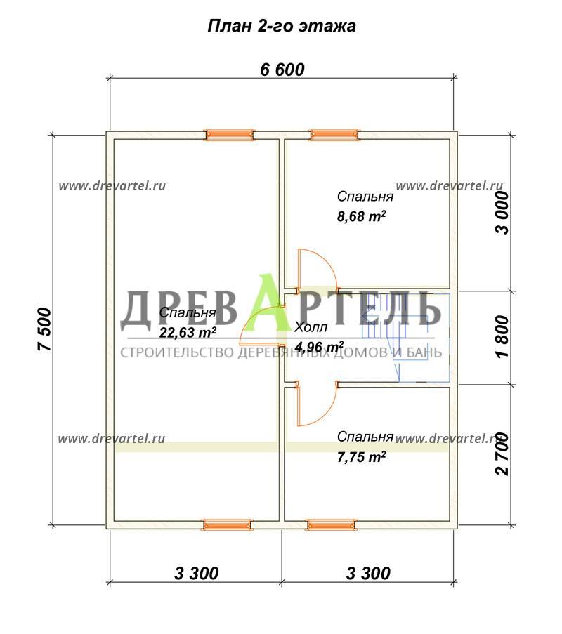 План 2-го этажа - Проект дома из бруса 7х8 с террасой
