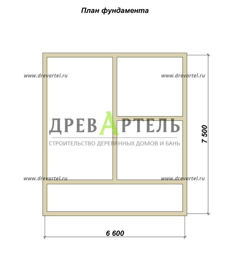 План ленточного фундамента - Проект дома из бруса 7х8 с террасой