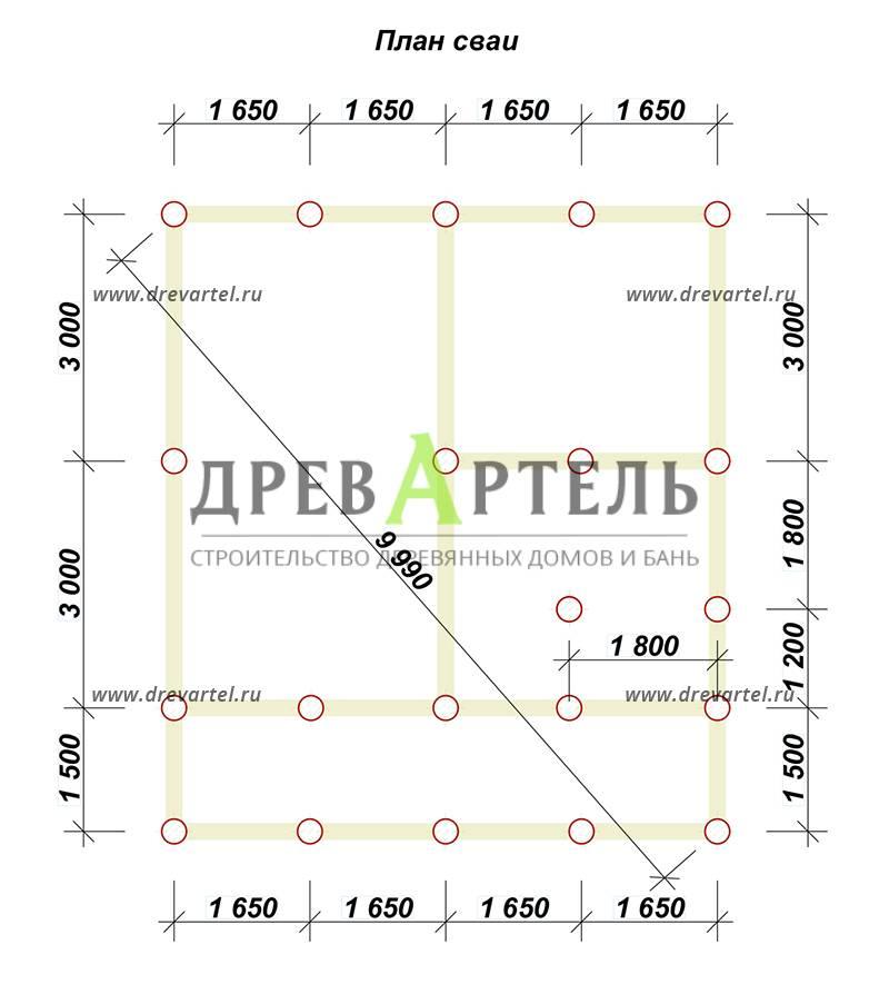 План свайного фундамента - Проект дома из бруса 7х8 с террасой