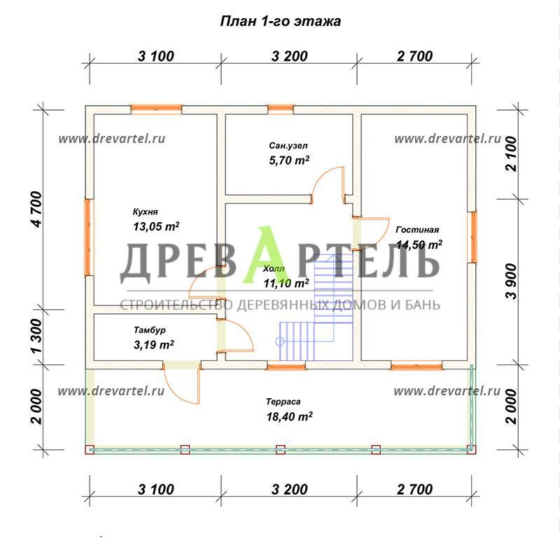План 1-го этажа - Дом из бруса 8х9 с террасой