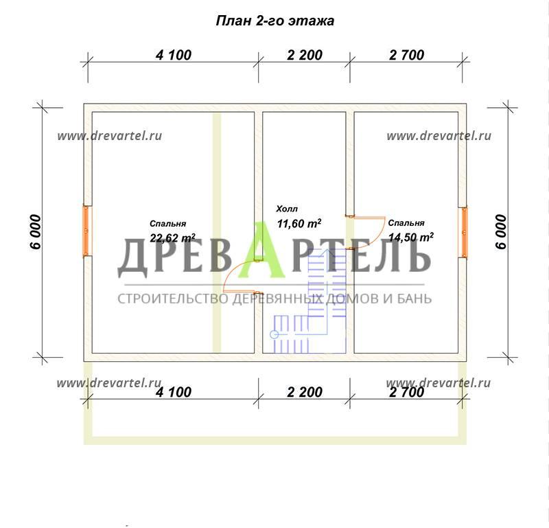 План 2-го этажа - Дом из бруса 8х9 с террасой