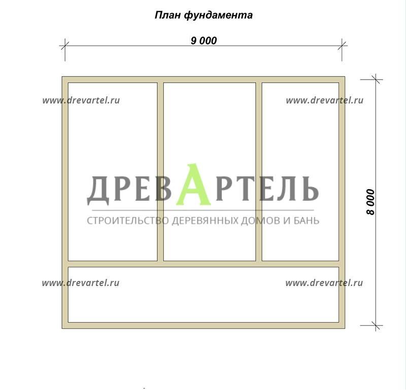 План ленточного фундамента - Дом из бруса 8х9 с террасой