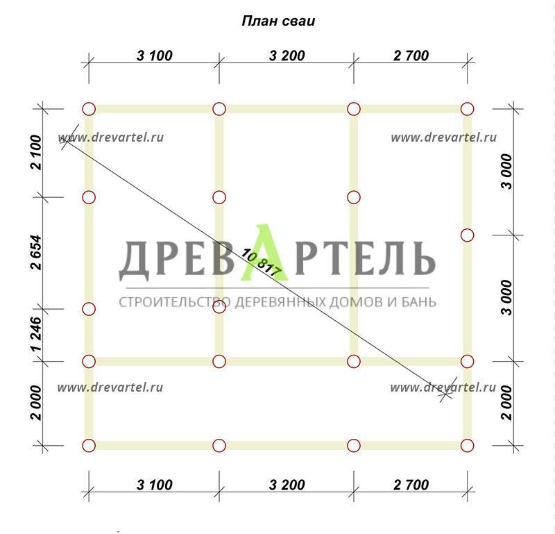 План свайного фундамента - Дом из бруса 8х9 с террасой