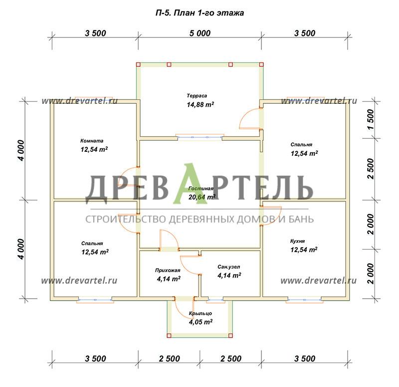 План 1-го этажа - Дом из бруса 8х12 с террасой