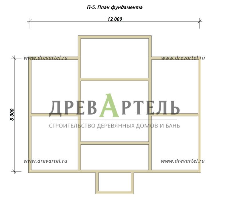 План ленточного фундамента - Дом из бруса 8х12 с террасой