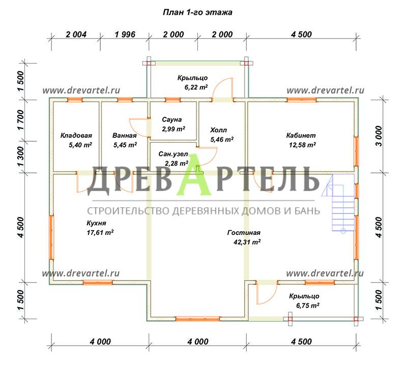 План 1-го этажа - Дом из бруса с эркером 9х12