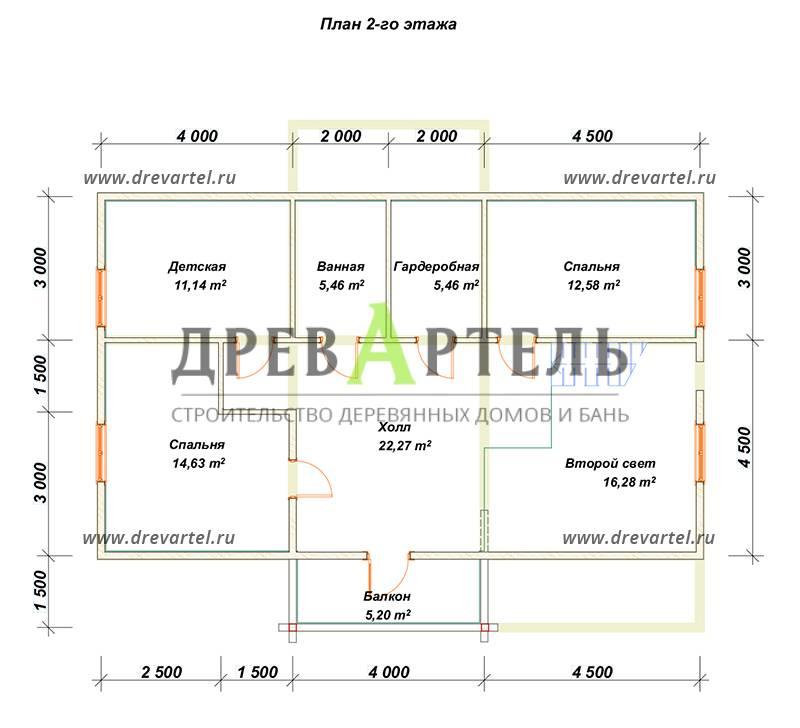 План 2-го этажа - Дом из бруса с эркером 9х12