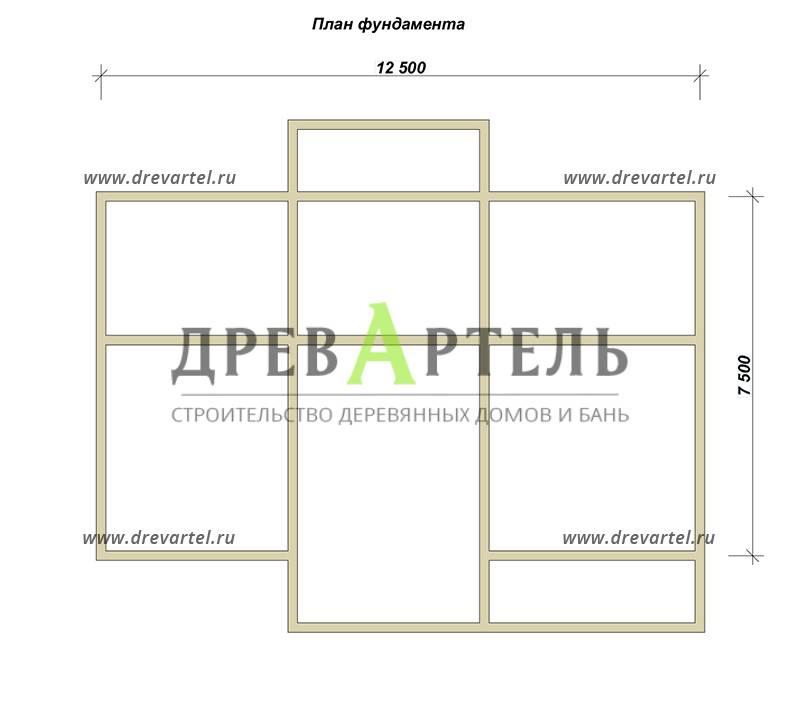 План ленточного фундамента - Дом из бруса с эркером 9х12