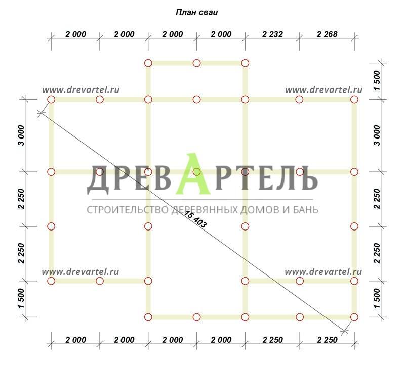 План свайного фундамента - Дом из бруса с эркером 9х12