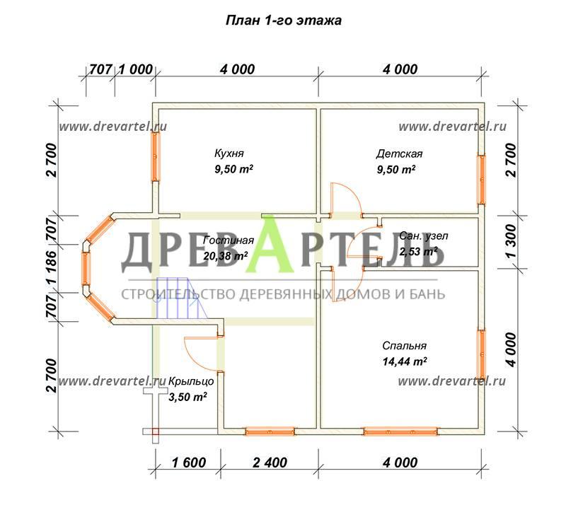 План 1-го этажа - Полутораэтажный дом из бруса 8х8