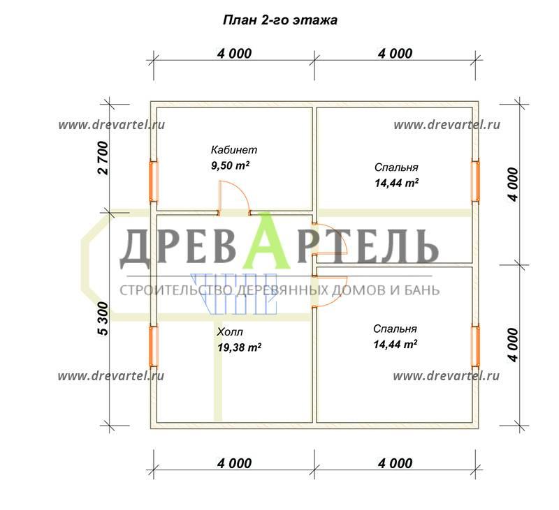 План 2-го этажа - Полутораэтажный дом из бруса 8х8