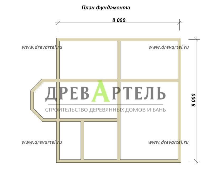 План ленточного фундамента - Полутораэтажный дом из бруса 8х8