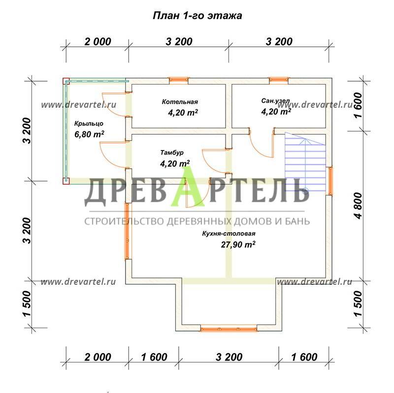 План 1-го этажа - Дом из бруса 6х6 в полтора этажа