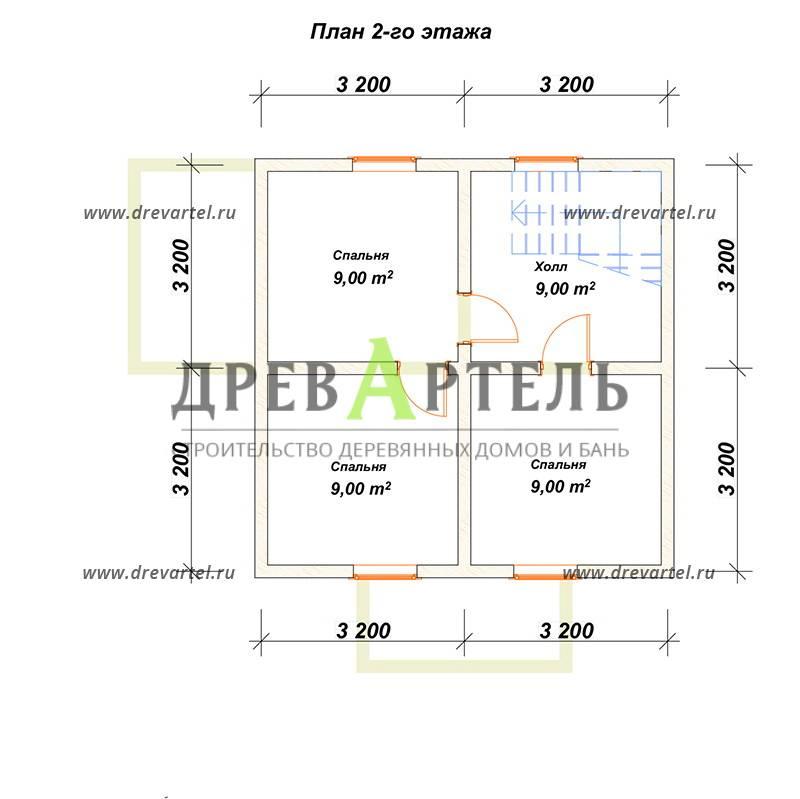 План 2-го этажа - Дом из бруса 6х6 в полтора этажа