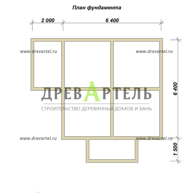 План ленточного фундамента - Дом из бруса 6х6 в полтора этажа