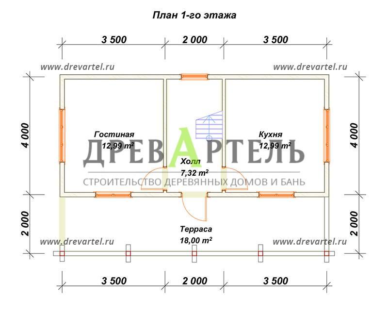 План 1-го этажа - Проект брусового дома 6х9