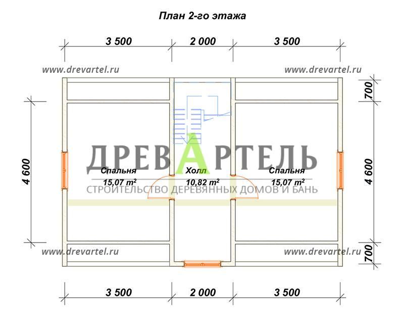 План 2-го этажа - Проект брусового дома 6х9