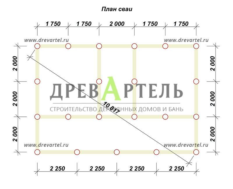 План свайного фундамента - Проект брусового дома 6х9