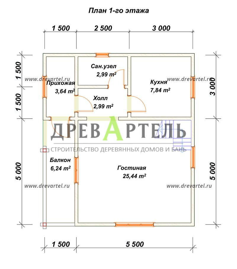 План 1-го этажа - Дом из бруса 7х8 в полтора этажа