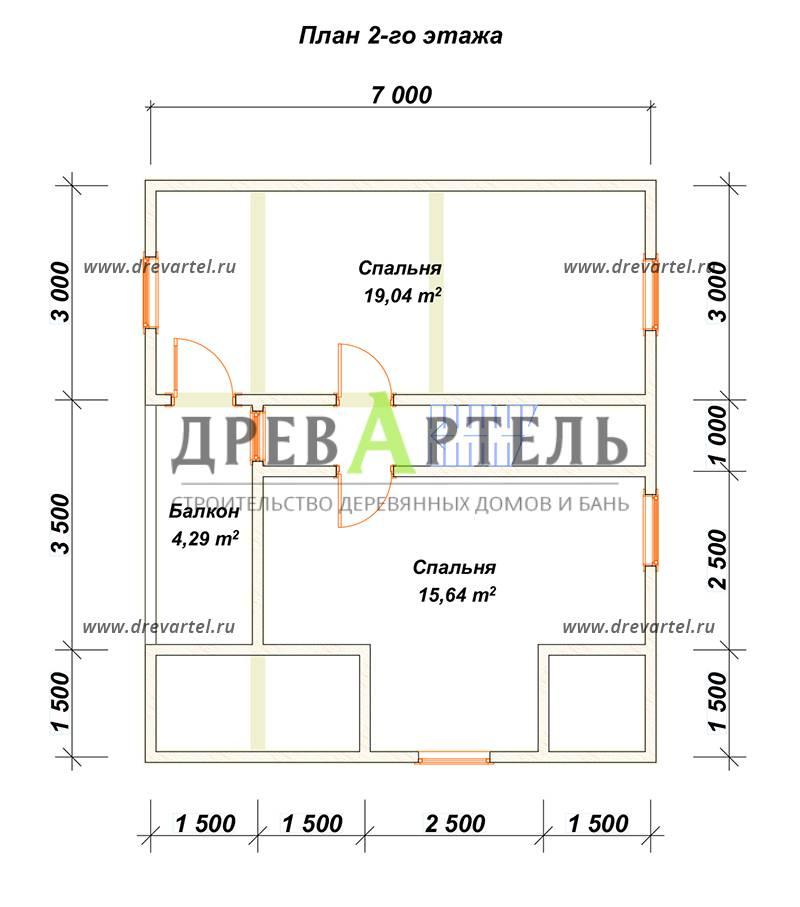 План 2-го этажа - Дом из бруса 7х8 в полтора этажа