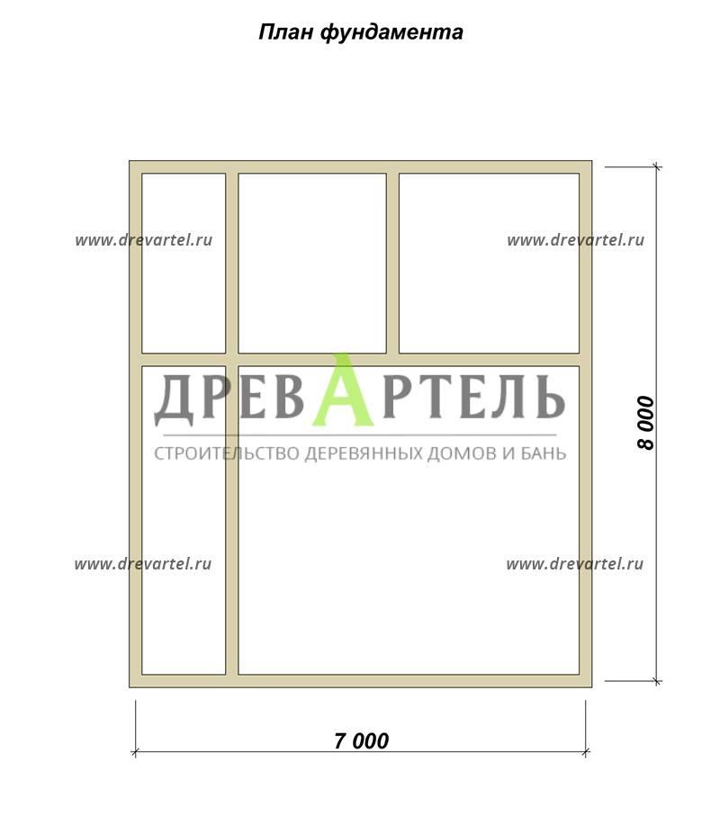 План ленточного фундамента - Дом из бруса 7х8 в полтора этажа