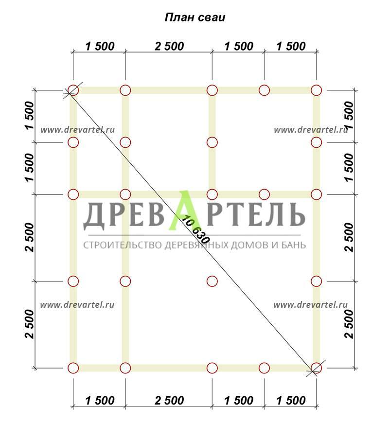 План свайного фундамента - Дом из бруса 7х8 в полтора этажа