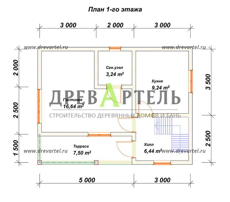 План 1-го этажа - Дом из бруса 6х8 с террасой и балконом