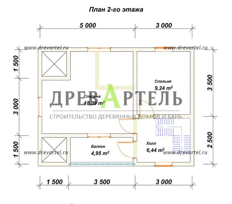 План 2-го этажа - Дом из бруса 6х8 с террасой и балконом