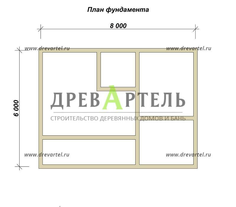 План ленточного фундамента - Дом из бруса 6х8 с террасой и балконом