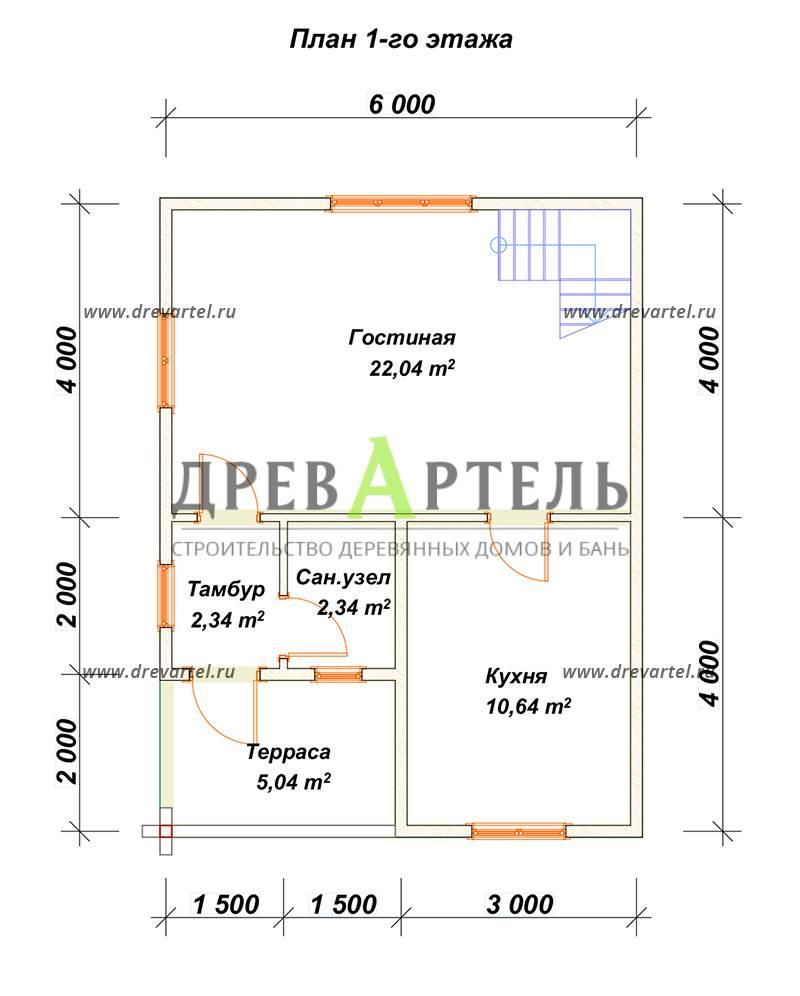 План 1-го этажа - Дом из бруса 8х8 в полтора этажа