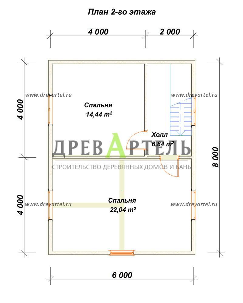 План 2-го этажа - Дом из бруса 8х8 в полтора этажа