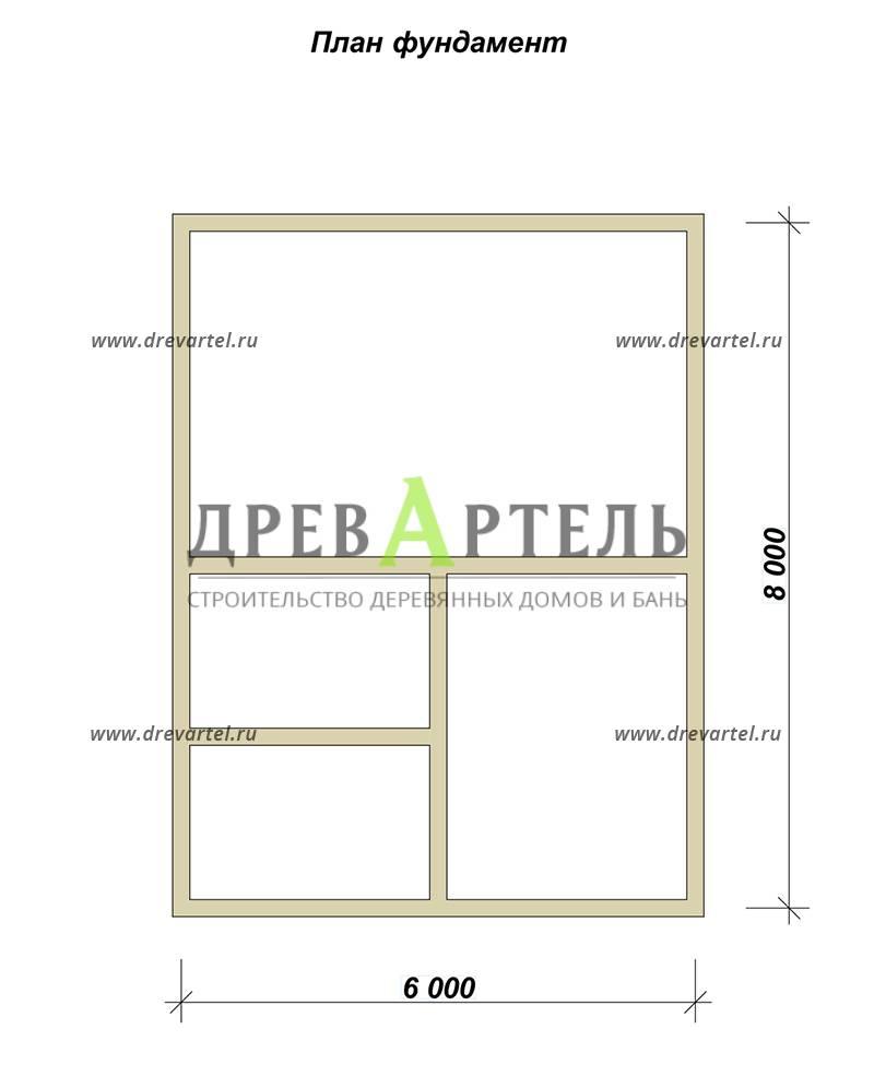 План ленточного фундамента - Дом из бруса 8х8 в полтора этажа