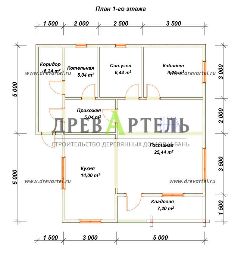 План 1-го этажа - Дом из бруса 8х10 с балконом