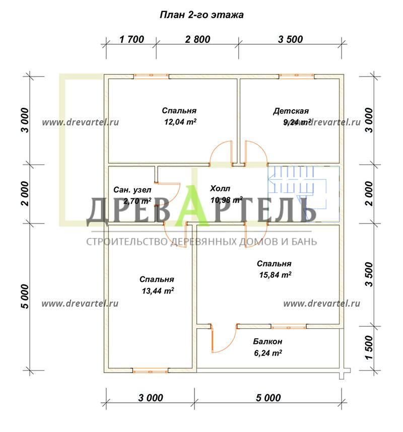 План 2-го этажа - Дом из бруса 8х10 с балконом