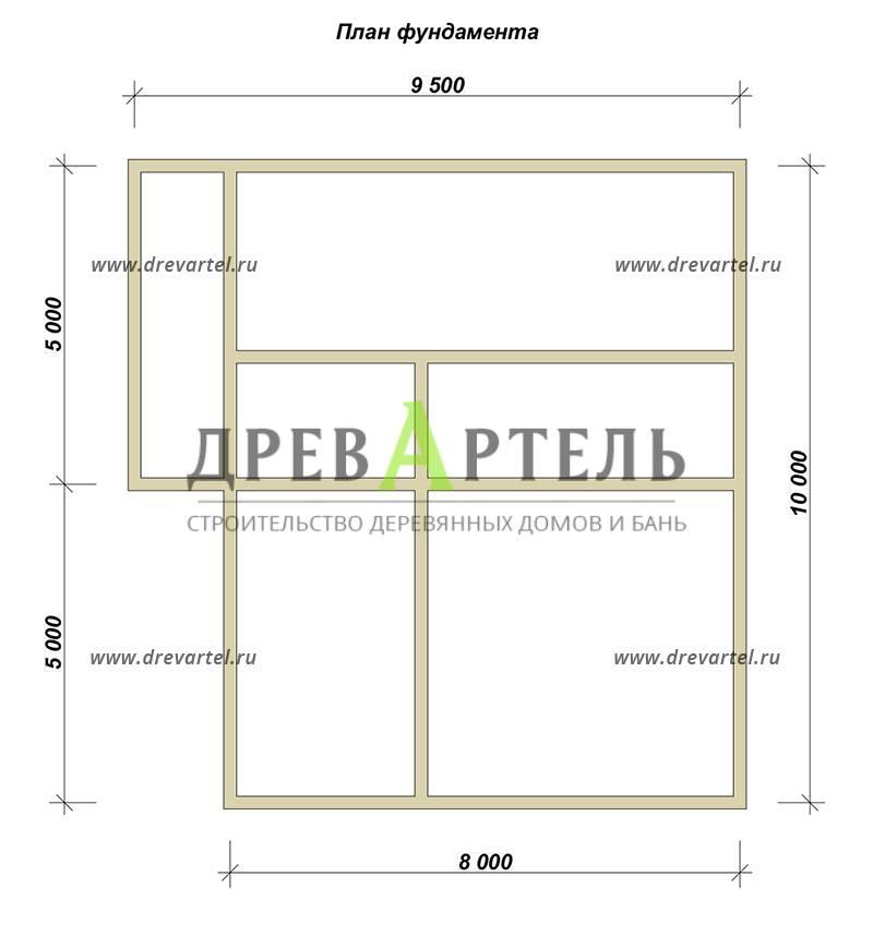 План ленточного фундамента - Дом из бруса 8х10 с балконом
