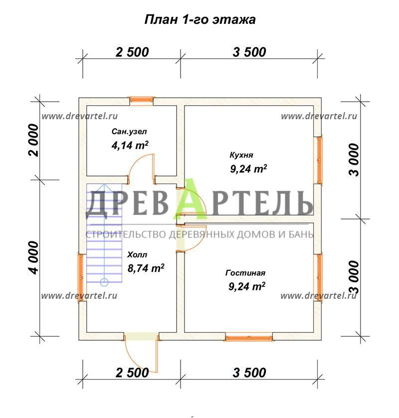 План 1-го этажа - Дом из бруса 6х6 с ломаной крышей