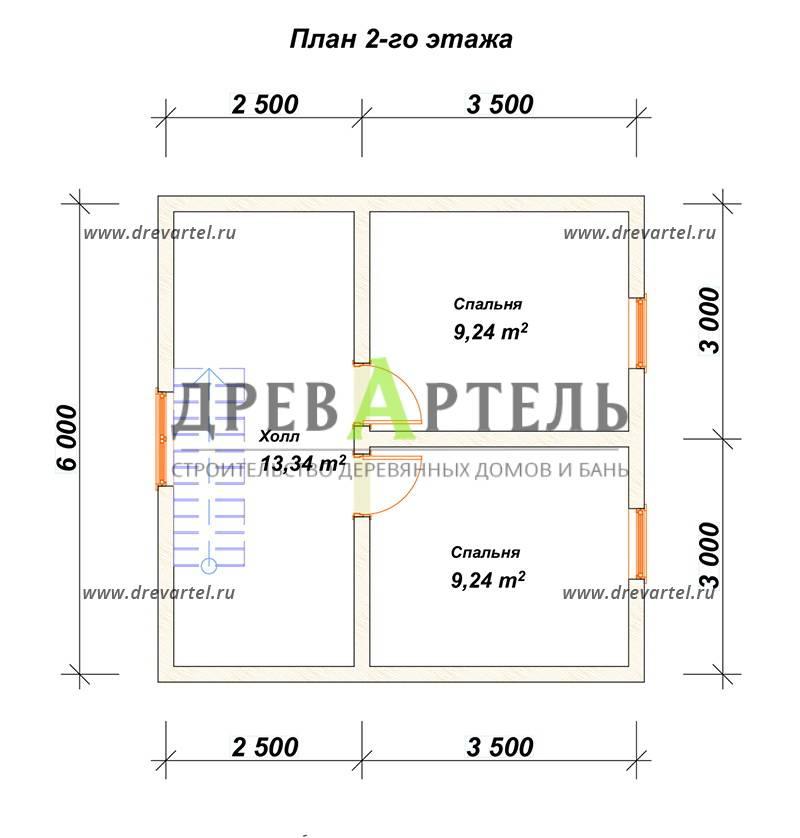 План 2-го этажа - Дом из бруса 6х6 с ломаной крышей