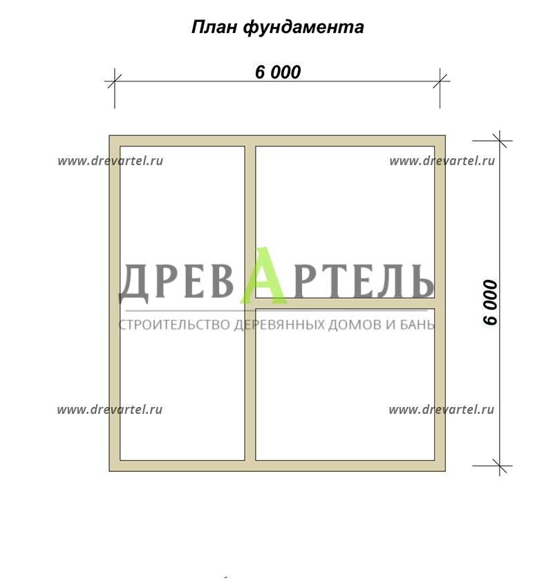 План ленточного фундамента - Дом из бруса 6х6 с ломаной крышей