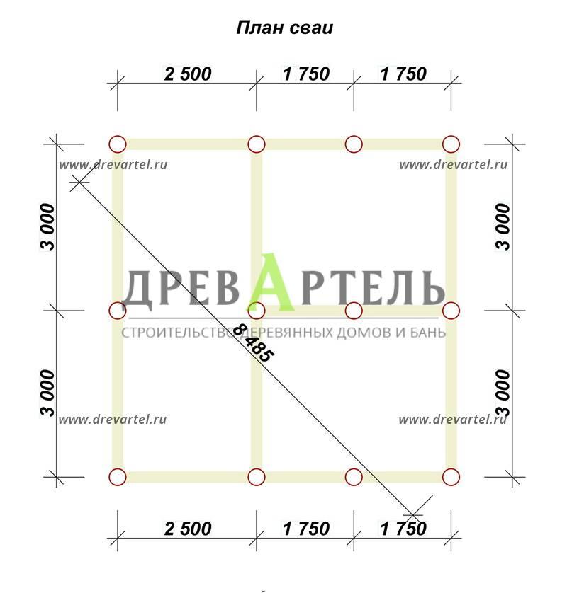 План свайного фундамента - Дом из бруса 6х6 с ломаной крышей