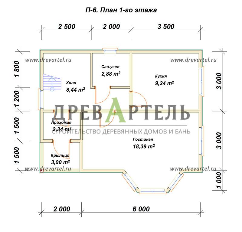 План 1-го этажа - Дом из бруса 6х8 в полтора этажа с эркером
