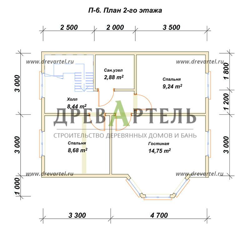 План 2-го этажа - Дом из бруса 6х8 в полтора этажа с эркером