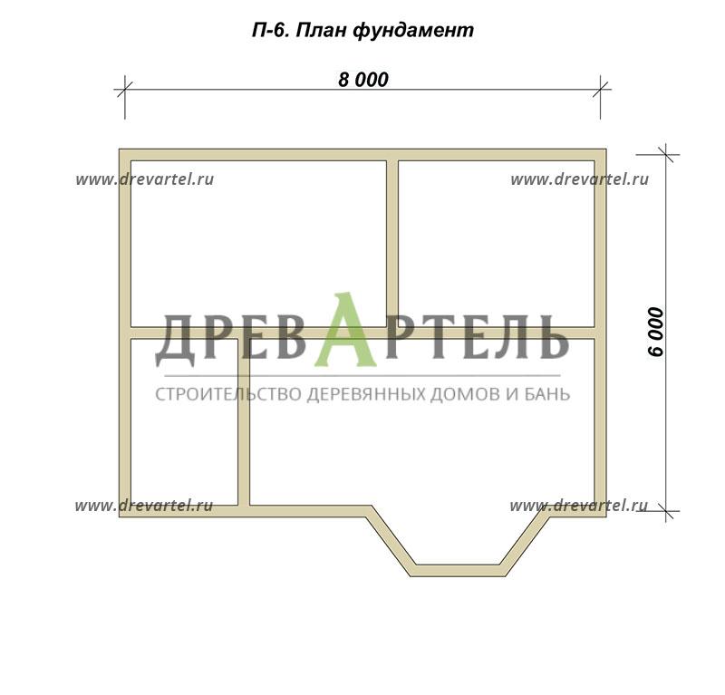 План ленточного фундамента - Дом из бруса 6х8 в полтора этажа с эркером
