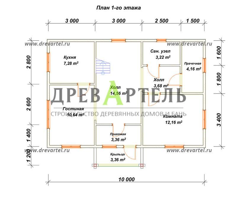 План 1-го этажа - Дом из бруса 7х10 под ключ