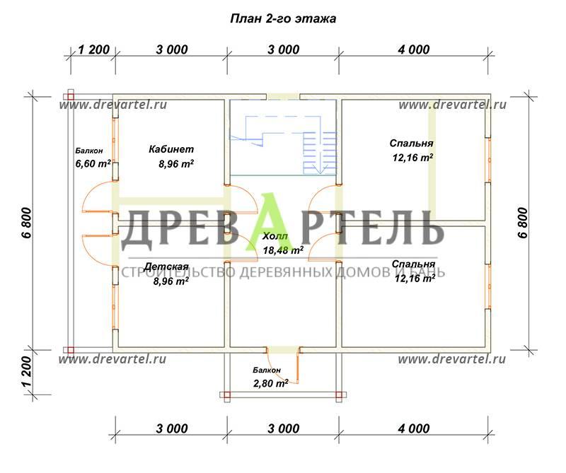План 2-го этажа - Дом из бруса 7х10 под ключ