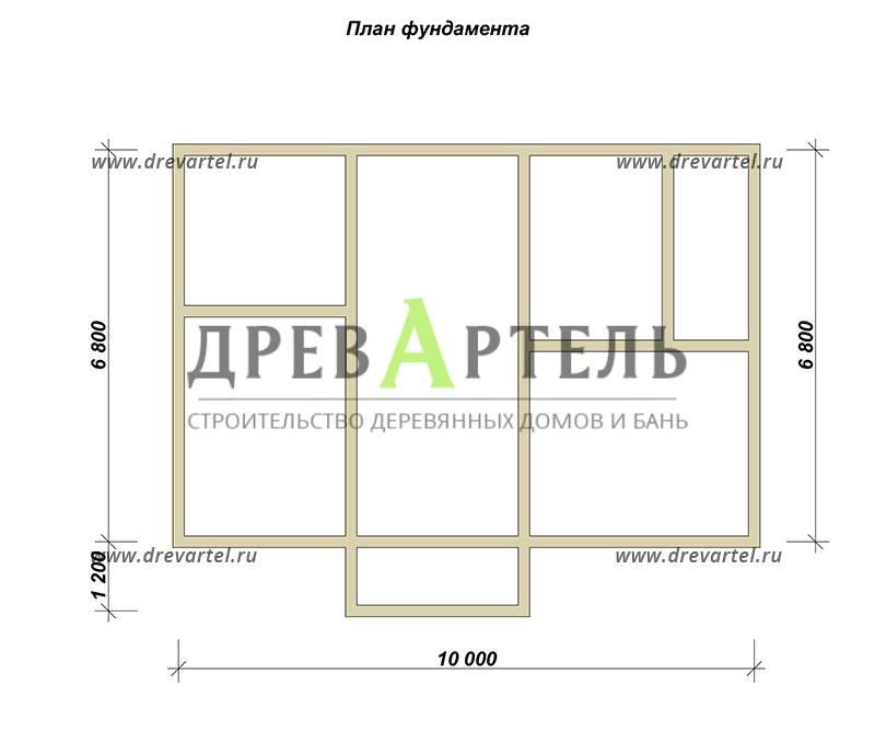 План ленточного фундамента - Дом из бруса 7х10 под ключ