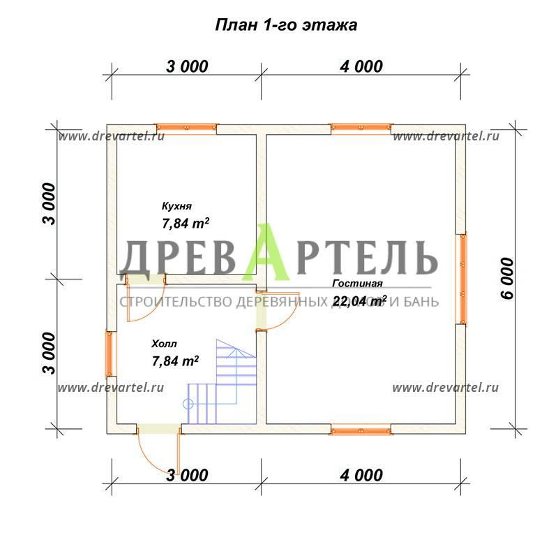 План 1-го этажа - Проект полутораэтажного дома из бруса 6х7
