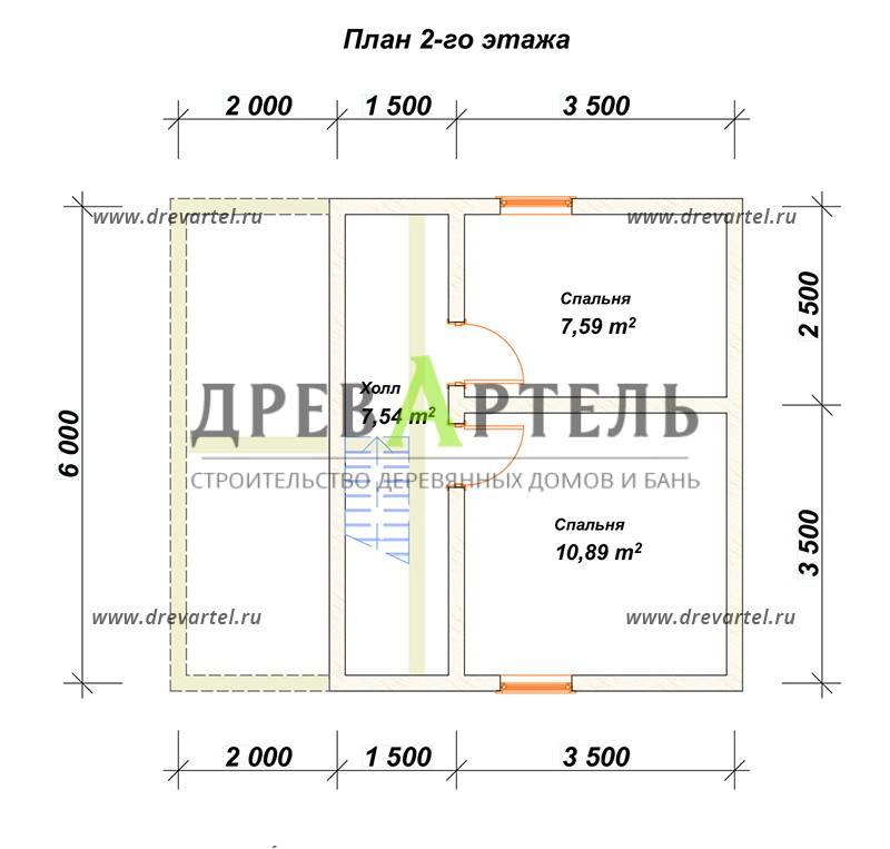 План 2-го этажа - Проект полутораэтажного дома из бруса 6х7