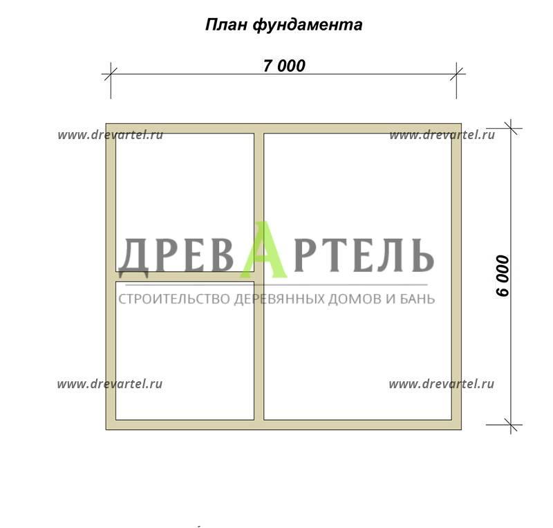 План ленточного фундамента - Проект полутораэтажного дома из бруса 6х7